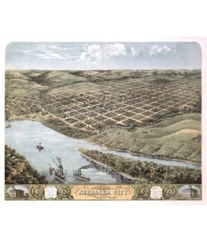 Nebraska City, NE - Panoramic Map 1868