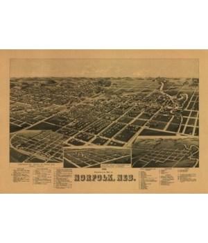 Norfolk, Nebraska - Panoramic Map 1889