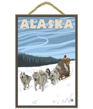 Alaska - Dogsled - Lantern Press 7x10 Or