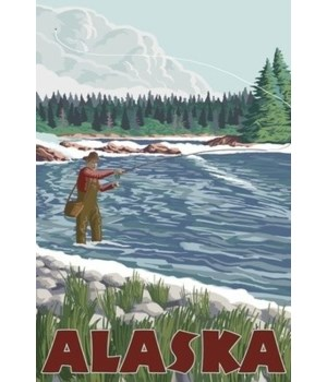 Alaska - Fly Fisherman - Lantern Press 7