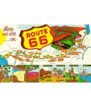 Map of Route 66 from Los Angeles to Chic
