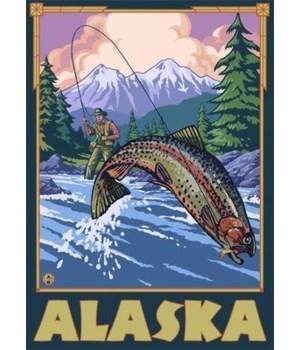 Alaska - Fly Fishing Scene - LP Original