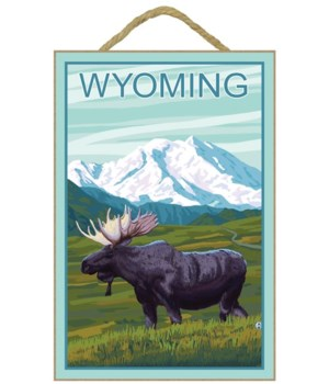 Moose with Mountain - Wyoming - LP Origi