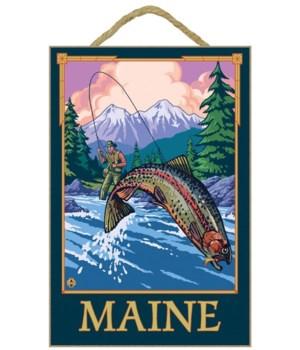 Maine - Angler Fisherman Scene - LP Orig