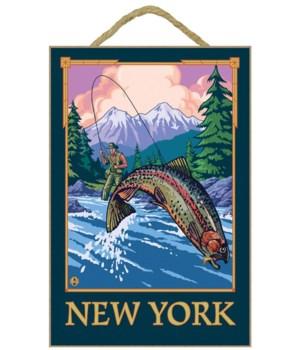 New York - Angler Fisherman Scene - LP O