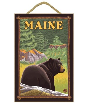 Maine - Black Bear in Forest - LP Origin