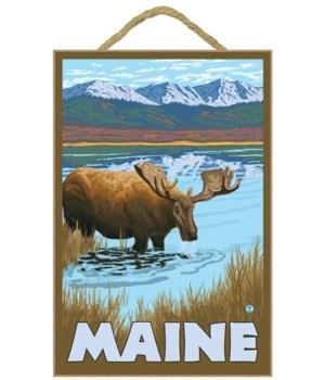 Maine - Moose Drinking in Lake - LP Orig