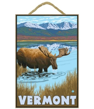 Vermont - Moose Drinking in Lake - LP Or