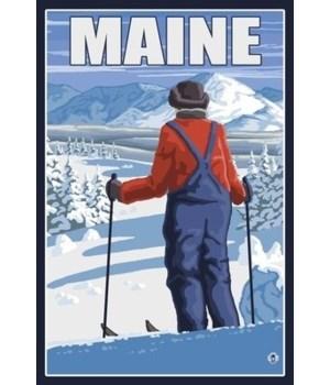 Maine - Skier Admiring View - LP Origina