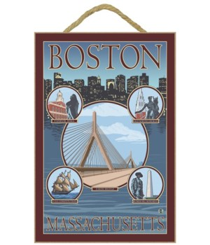 Boston, MA Views - Lantern Press 7x10 Or