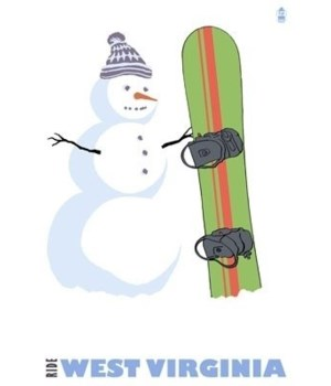 West Virginia - Snowman with Snowboard