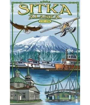 Sitka, Alaska Town Views - Lantern Press
