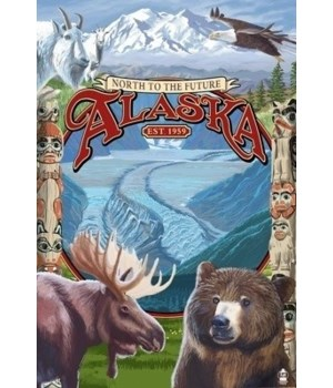 Alaska Scenes Montage - Lantern Press 7x