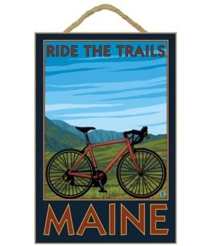 Maine - Bicycle Scene - Lantern Press 7x