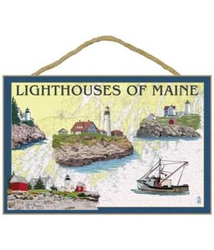 Lighthouses of Maine - Nautical Chart -
