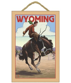 Cowboy and Bronco Scene - Wyoming - Lant