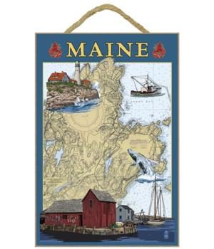Maine Scenes - Nautical Chart - Lantern