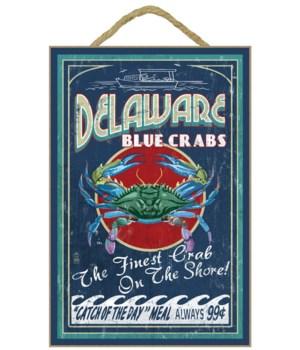 Delaware Blue Crabs - Vintage Sign - Lan