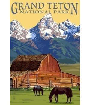 Grand Teton National Park - Barn & Mount