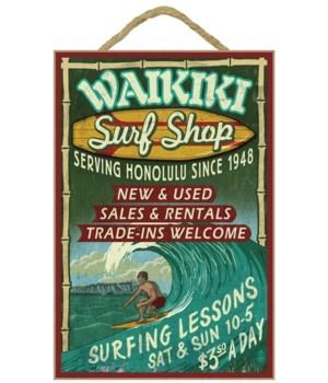 Waikiki Beach, Hawaii - Surf Shop Vintag