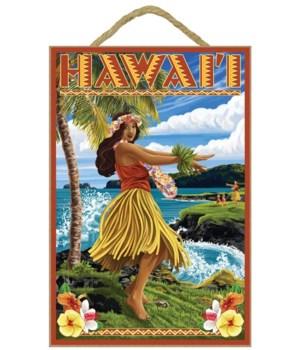 Hawaii Hula Girl on Coast - Lantern Pres