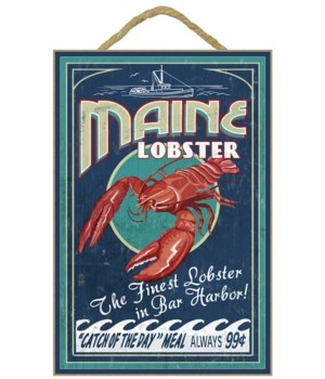 Lobster Vintage Sign - Bar Harbor, Maine