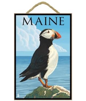 Maine - Puffin on Rock Scene - Lantern P