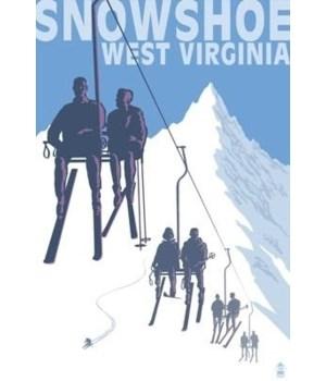 Snowshoe, WV - Skiers on Lift