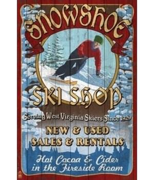 Snowshoe, WV - Ski Shop Vintage Sign