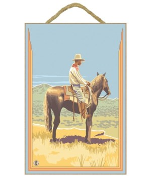Cowboy Side View - Lantern Press 7x10 Po