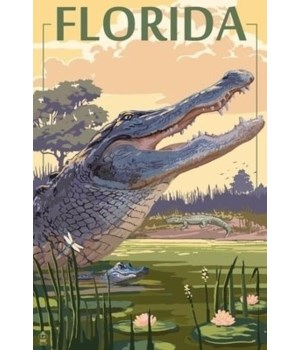 Florida - Alligator Scene - Lantern Pres