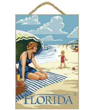 Florida - Beach Scene - Lantern Press 7x