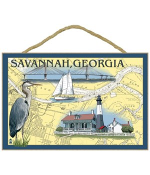 Savannah, Georgia - Nautical Chart - Lan