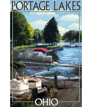Portage Lakes, Ohio - Dock & Lake Scene