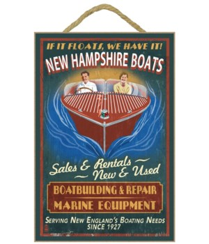 New Hampshire Wooden Boats Vintage Sign