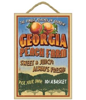 Georgia - Peach Farm Vintage Sign - Lant