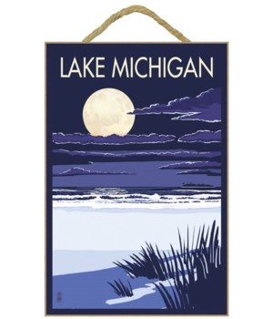 Lake Michigan - Full Moon Night Scene -