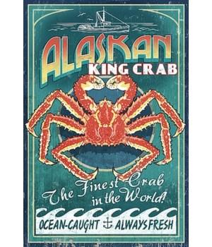 Alaska King Crab Vintage Sign - Lantern