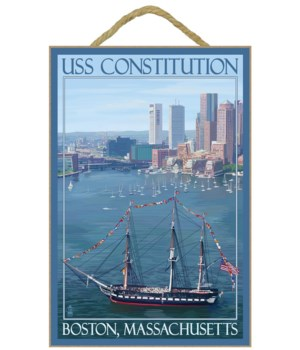 USS Constitution & Boston Skyline  - Lan