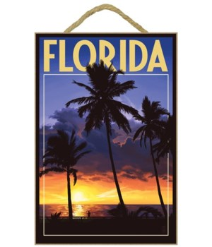 Florida - Palms & Sunset - Lantern Press