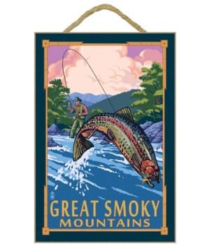 Angler Fly Fishing Scene - Great Smoky M