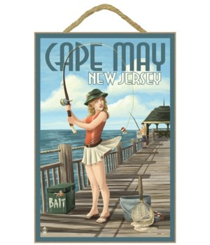Cape May, New Jersey - Fishing Pinup Gir
