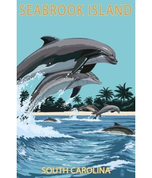 Dolphins Jumping - Seabrook Island,  Sou