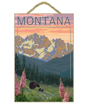 Montana - Bear Family & Spring Flowers -