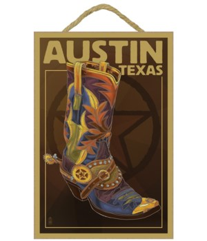 Austin, Texas - Boot & Star - Lantern Pr