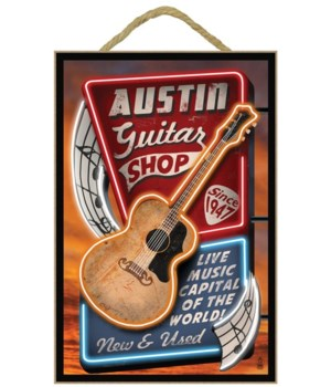 Austin, Texas - Guitar Shop Vintage Sign