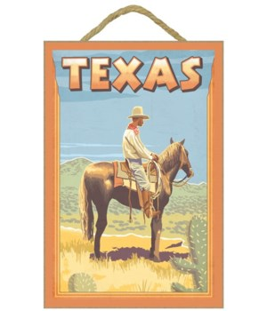 Texas - Cowboy on Horseback - Lantern Pr