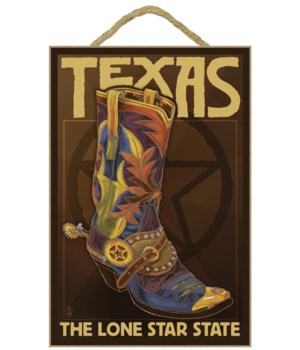 Texas - Boot & Star - Lantern Press 7x10