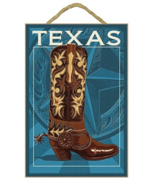 Texas - Boot Letterpress - Lantern Press