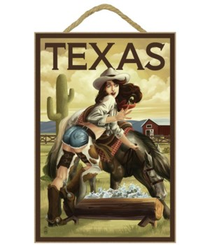 Texas - Cowgirl Pinup - Lantern Press 7x